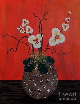 Barbara Griffin - Orchids in a Pot on Orange
