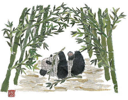 PANDA BEAR IN BAMBOO BUSH Hand-Torn Newspaper Collage Art  by Keiko Suzuki
