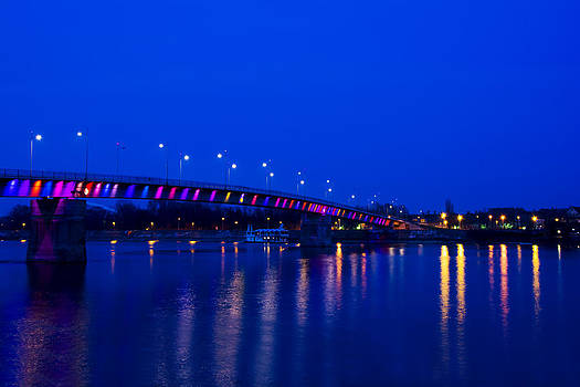 Newnow Photography By Vera Cepic - Rainbow bridge across the Danube in the night