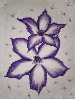 2 Purple Flowers by L J Penrod