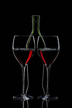 Alex Sukonkin - Red Wine Bottle And Wineglasses Silhouette
