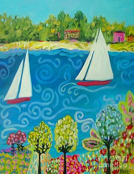 2 Sailboats In The Harbor  by Karen Fields