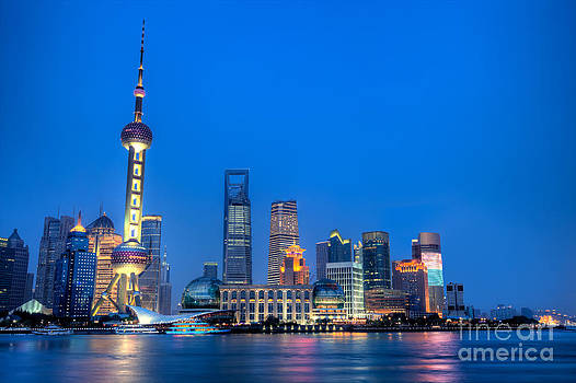 Fototrav Print - Shanghai Pudong cityscape at night