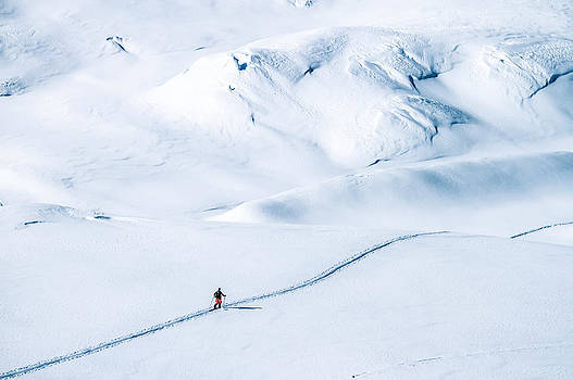 Ski Tourer On Big Mountains In A Winterlandscape  by Leander Nardin