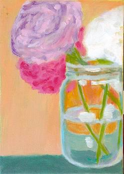 Three Peony Mason Jar by Molly Fisk