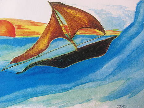 Viking Sailboat by Debbie Nester