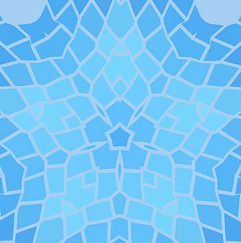 Vintage blue with black  mosaic petal flower by Larisa Karpova