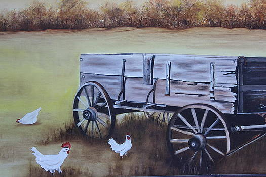 Wagon and Chickens by Christine McMillan