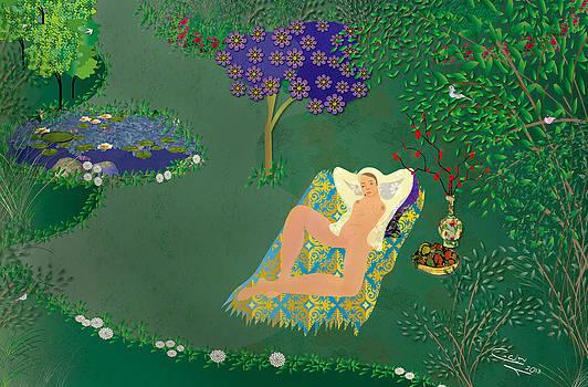 Woman in garden with pond by Gabriela Delgado