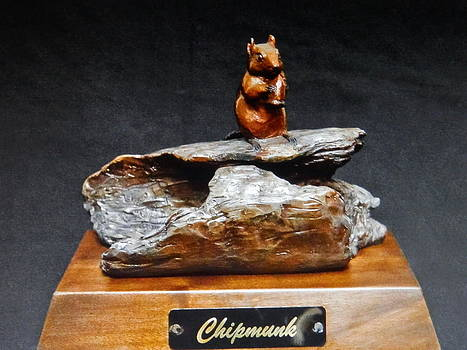 Chipmunk on Log with Acorn by Lee Clark