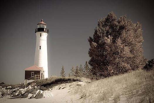 Crisp Point Lighthouse Michigan by Angela  Beauchamp