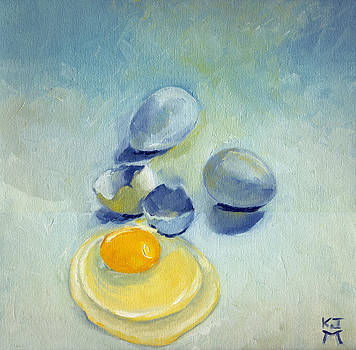3 Eggs on Blue by Katherine Miller