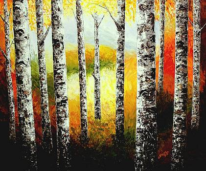 Fall Birches Beauty palette knife painting by Georgeta Blanaru