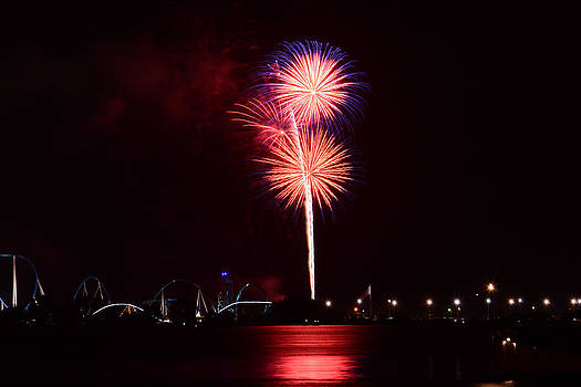 Fireworks Over the Water by Micah Flack
