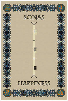 Happiness written in Ogham by Ireland Calling