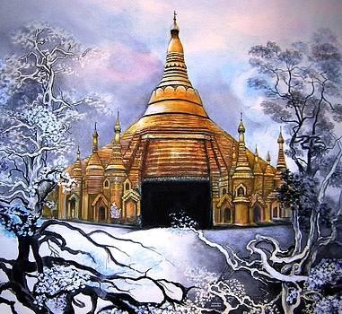 Interpretive Illustration of Shwedagon Pagoda by Melodye Whitaker