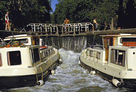 Locks filling Canal Du Midi France 1980s by David Davies