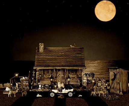 Log Cabin Scene With Outhouse And The Old Vintage Classic 1908 Model T Ford In Sepia Color by Leslie Crotty