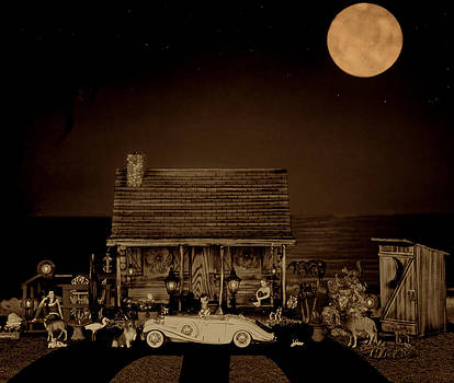 Miniature Log Cabin Scene With The Classic 1936 Mercedes Benz Special Roadster In Sepia Color by Leslie Crotty
