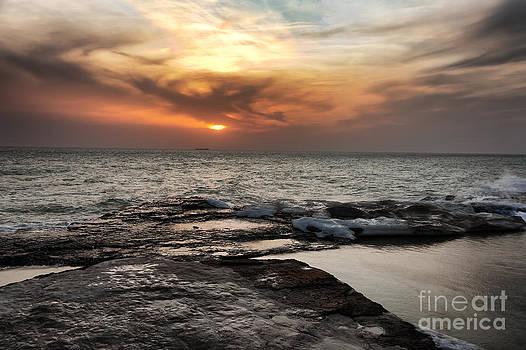 Orange Ocean Sunset by Alexandr  Malyshev