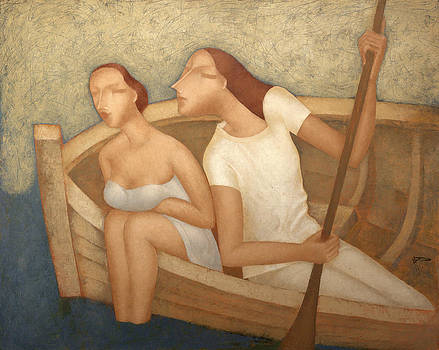 Pair in a boat  by Nicolay  Reznichenko