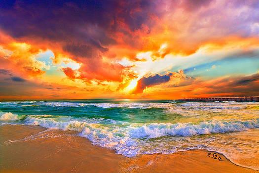 Red Orange Beach Sunset by Eszra Tanner