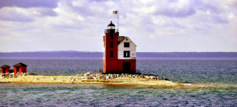 Round Island Lighthouse Straits Of Mackinac Michigan by Marysue Ryan
