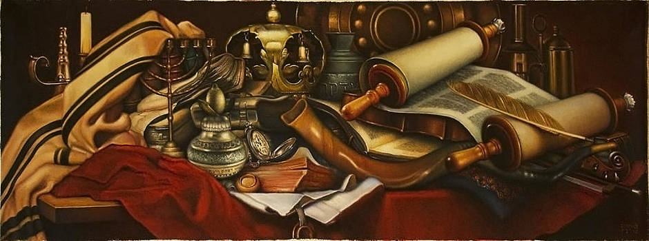 Still Life on the red Tablecloth.  by Eduard Gurevich
