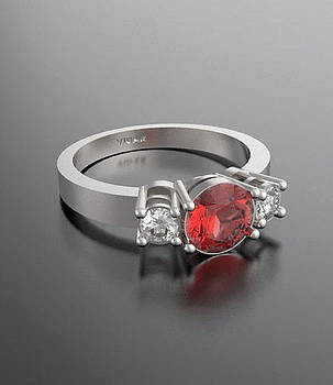 3 Stones Red Ruby and Diamond 14k White Gold Engagement Ring by Roi Avidar