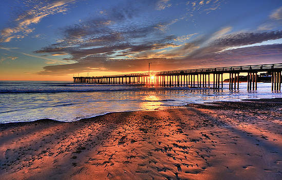 Sunrays Through The Pier by Beth Sargent