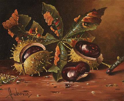 Three wild chestnut by Dusan Vukovic