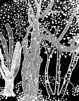 3 Trees Tree Squared Tree Cubed Tree Four Black White Inverted by Lois Picasso