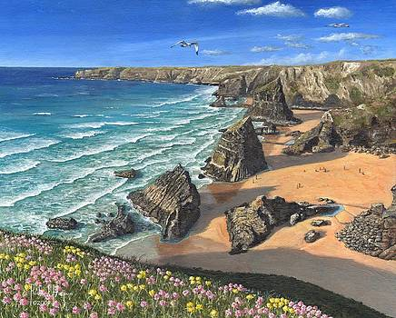 Evening Light Bedruthan Steps Cornwall by Richard Harpum