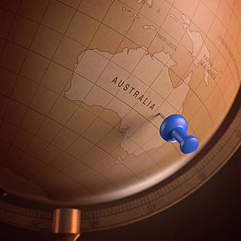 Vintage Globe With A Push Pin by Ktsdesign