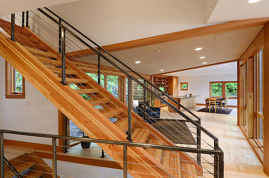 Wooden staircase by Will Austin