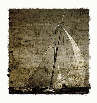 Pedro Cardona Llambias - 40 sailboat - With open wings in a grunge background
