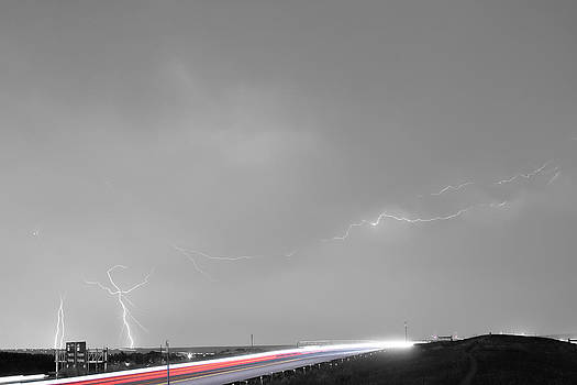 James BO Insogna - 47 Street Lightning Storm Light Trails View BWSC