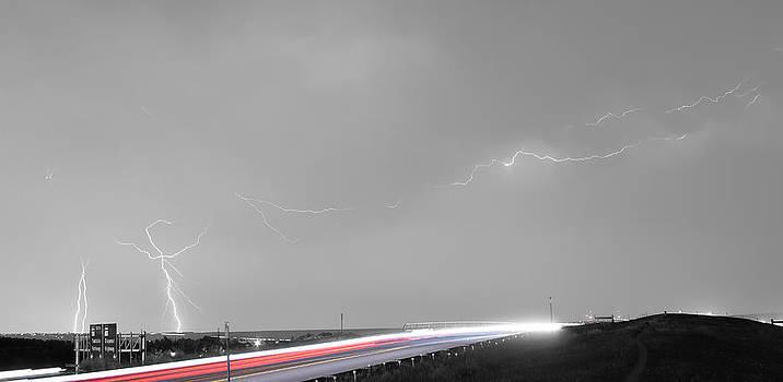 James BO Insogna - 47 Street Lightning Storm Light Trails View Panorama
