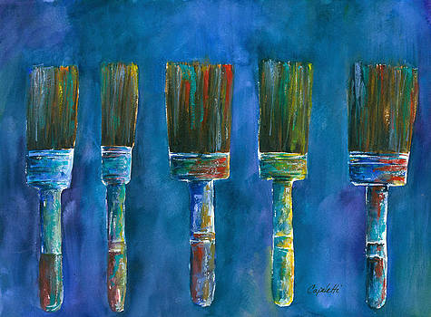 5 Dancing Paint Brushes by Barb Capeletti