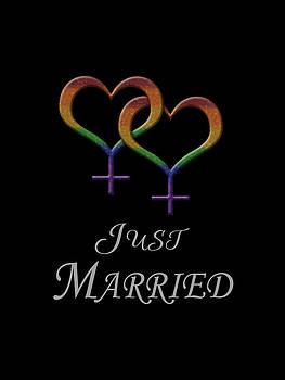 Just Married Lesbian Pride by Tavia Starfire