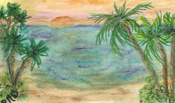 5 Palm Trees sunset by Debbie Wassmann