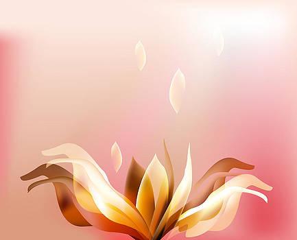 Rose petal flower  shell on pink by Larisa Karpova