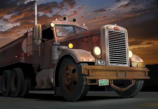'55 Peterbilt Sunset by Stuart Swartz