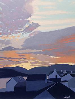 Sunset over the roofs by Malcolm Warrilow