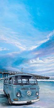 69 VW Bus on the Beach by Cindy D Chinn
