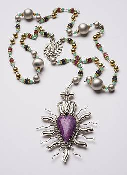 75ct Ruby Sacred Heart Rosary by Gregory Segura