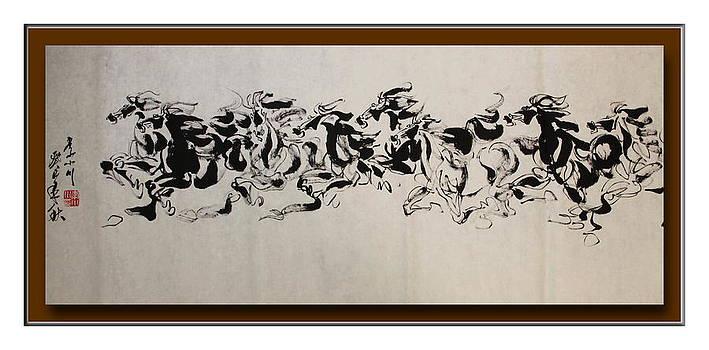 8 Horses Running Towards The West by Richard Xiaochuan Li