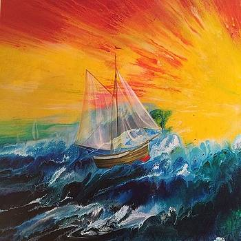 80x40 Sailboat Painting Left Side by Ocean Clark
