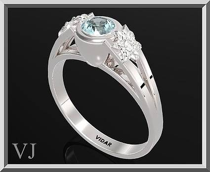 925 Sterling Silver Three Stone Flower Engagement Ring With Blue Topaz by Roi Avidar