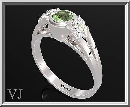 925 Sterling Silver Three Stone Flower Engagement Ring With Green Peridot by Roi Avidar